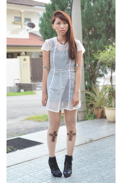 white sheer DIY handmade dress - black ankle boot Fioni heels