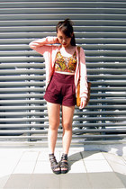 black bralet Topshop top - tawny vintage bag - crimson high waisted shorts