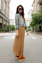 light brown skirt - tawny creeper shoes - sky blue denim jacket