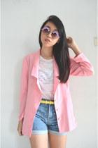 periwinkle floral DIY sunglasses - light pink handmade blazer