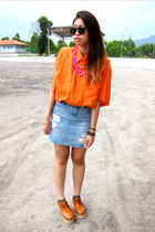 hot pink diy selfmade necklace - tawny platforms shoes - light blue jeans skirt