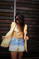 light blue diy jeans - light orange blazer - mustard sequin top