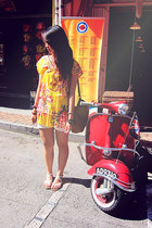 yellow floral print dress - tawny vintage sling bag - white striped sandals