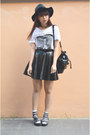Black-leather-handmade-skirt-black-h-m-hat-white-james-dean-h-m-t-shirt