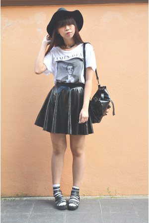 black leather handmade skirt - black H&M hat - white james dean H&M t-shirt