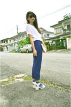 white bag - blue net Forever 21 socks - blue pants - white heels - ivory t-shirt
