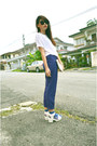 White-bag-blue-net-forever-21-socks-blue-pants-white-heels-ivory-t-shirt