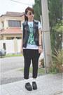 Black-creeper-diy-shoes-black-leather-forever-21-vest