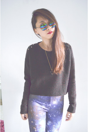 black studded DIY jumper