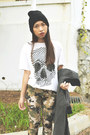 Black-oasap-shoes-black-hat-white-t-shirt
