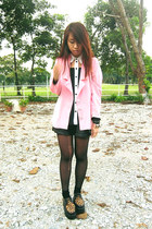 black blouse - black creeper Duet shoes - bubble gum selfmade blazer
