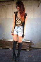 black knitted vest - black Dr Martens boots - leopard print dress - jeans