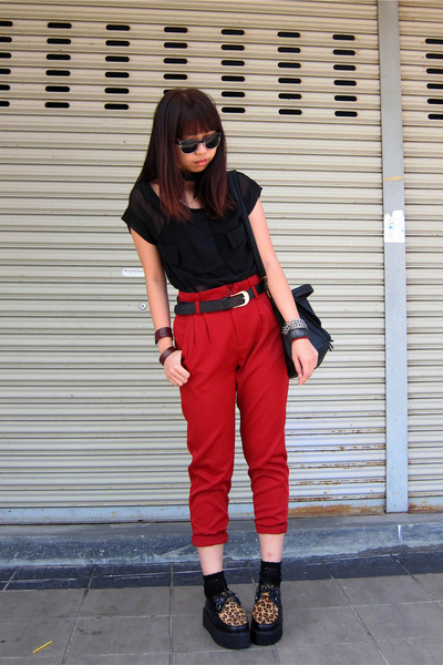 brick red high waisted pants - black creeper Duet shoes