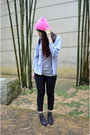 Black-jeans-bubble-gum-beanie-hat-bubble-gum-bag-black-cotton-on-socks