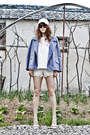 White-unknown-hat-blue-denim-j-koo-jacket-white-lace-zara-shorts