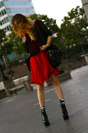 red silk flowy Miss Sixty dress - black security  Jeffrey Campbell boots