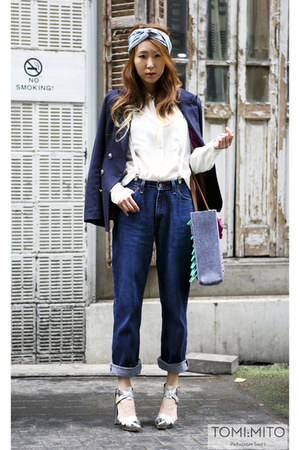 Levis jeans - magnmag shirt - Hermes scarf