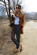 bronze Ugg flats - burnt orange Club Monaco coat - black Chanel bag