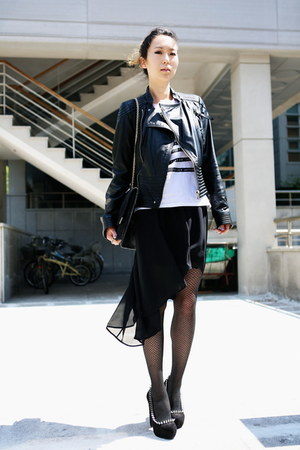 black Miss Sixty jacket - white H&amp;M shirt - black Chanel bag
