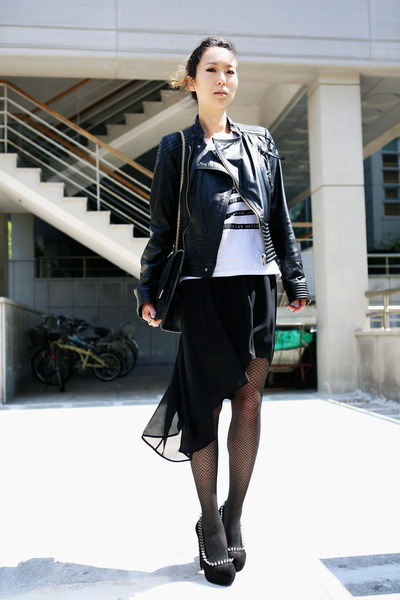 black Miss Sixty jacket - white H&M shirt - black Chanel bag