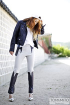 navy CRES E DIM jacket - silver Jeffrey Campbell heels - white Amazon wallet