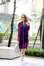 purple unknown dress - deep purple unknown scarf - beige backpack kanken bag