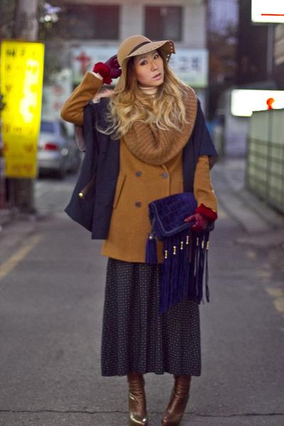 mustard cashmere wool Club Monaco coat - camel Topshop hat