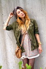 Peach-unknown-dress-olive-green-anorak-unknown-jacket