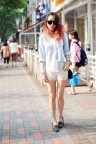 white lace Zara shorts - light blue unknown shirt - black Chanel bag