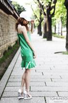 green pvc flared kiok dress - white granted Jeffrey Campbell wedges