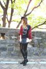 Heather-gray-pleated-h-m-skirt-black-superman-new-era-hat
