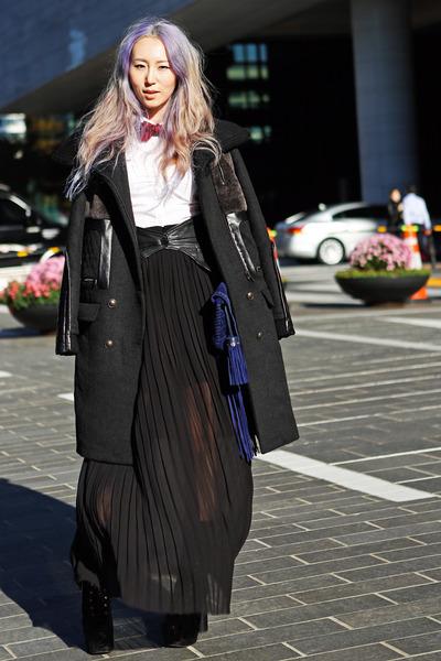 black jacquard Jeffrey Campbell boots - black wool leather Cres E Dim coat