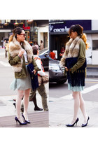 navy fringed Emilio Pucci flats - olive green unknown jacket - white H&M shirt