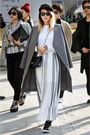 White-pleated-dress-post-december-dress-heather-gray-spring-post-december-coat