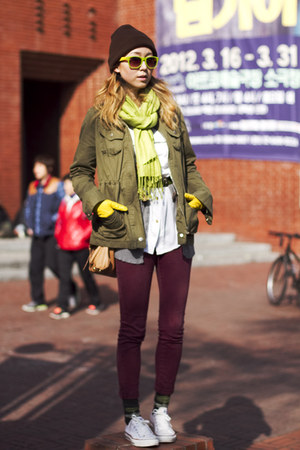 yellow Club Monaco gloves - green argyle unknown socks - white Converse sneakers