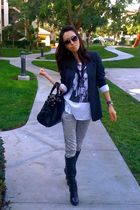 gray 548 blazer - black Kitson bracelet - Miss Sixty boots - Bally purse - Ray B