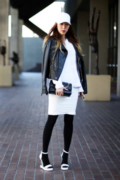 leather unknown hat - asos dress - leather Miss Sixty jacket