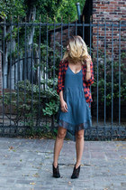 teal slipdress free people dress - black Jeffrey Campbell boots