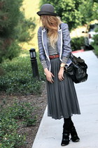 heather gray sailor Soup jacket - black suede buckled Modern Vintage boots
