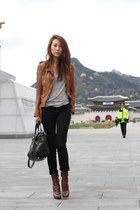 Prada boots - Joes Jeans jeans - Muubaa jacket - Bally purse - active top