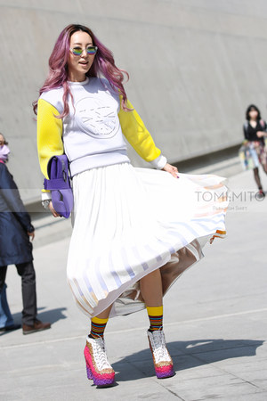 yellow neoprene Dim E Cres top - hot pink lita drip Jeffrey Campbell boots