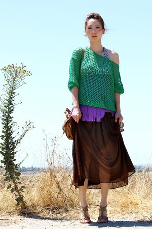 green crochet unknown sweater - camel Topshop bag - dark brown maxi skirt vintag