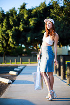 white quick silver hat - silver Mink Pink bag - silver Jeffrey Campbell heels