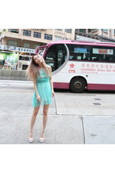 aquamarine lace Yuna Yang dress - white clear wedge Jeffrey Campbell heels