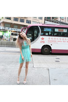 aquamarine lace Yuna Yang dress - white clear wedge Jeffrey Campbell heels