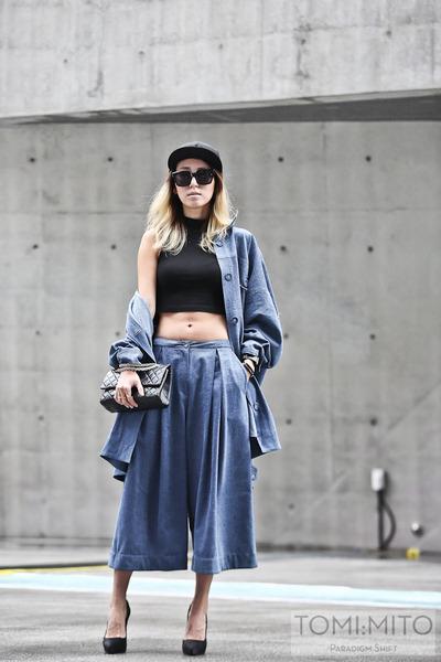black 255 reissue Chanel bag - sky blue oversized denim JKOO shirt