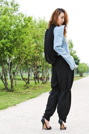 black silver plated Jeffrey Campbell heels - light blue kiok jacket