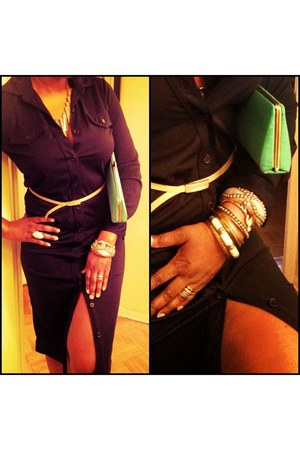 black shirt dress BCBG bracelet - green clutch Mango bag