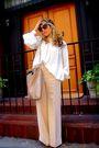 Beige-devi-kroell-pants-silver-chloe-top-brown-alexander-mcqueen-scarf-bei