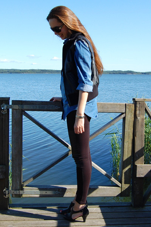 DIY vest - GINA TRICOT shirt - MQ tights - Din Sko shoes - Prada sunglasses